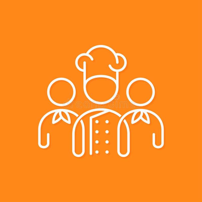 Línea concepto del icono del equipo del cocinero del negocio en fondo amarillo ilustración del vector
