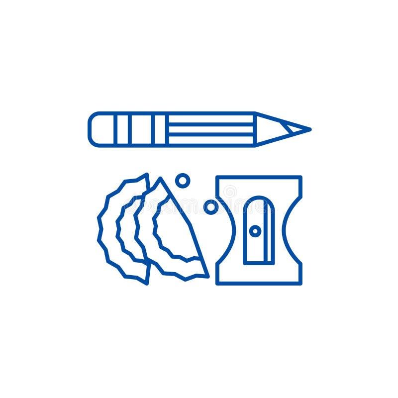 Línea concepto del lápiz y de los sacapuntas del icono Símbolo plano del vector del lápiz y de los sacapuntas, muestra, ejemplo d ilustración del vector