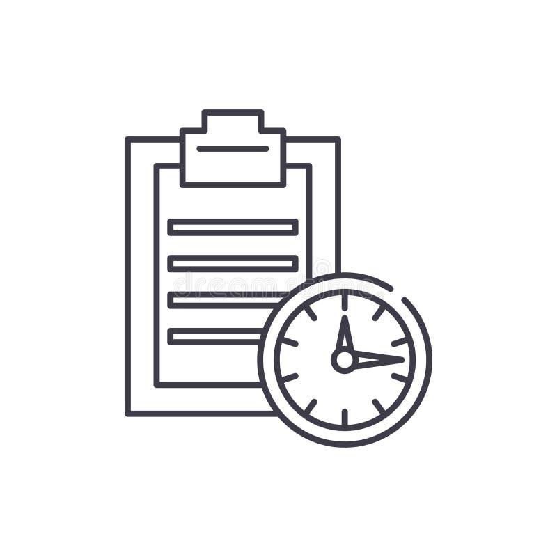 Línea concepto del límite de tiempo del icono Ejemplo linear del vector del límite de tiempo, símbolo, muestra libre illustration