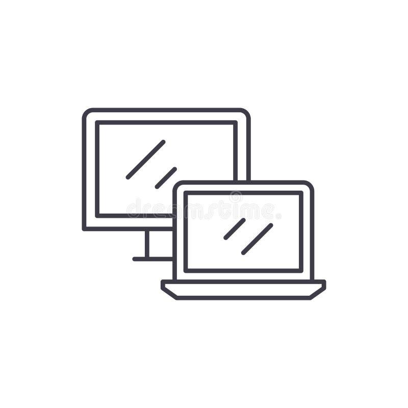 Línea concepto del ordenador y del ordenador portátil del icono Ejemplo linear del vector del ordenador y del ordenador portátil, stock de ilustración
