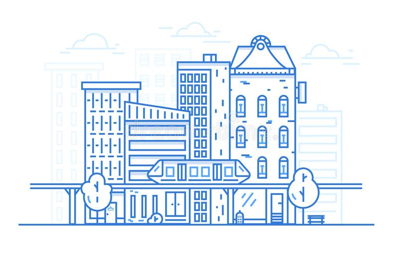 Línea concepto del paisaje de la ciudad de diseño del arte para el fondo del sitio web Paisaje urbano urbano con arquitectura de  libre illustration