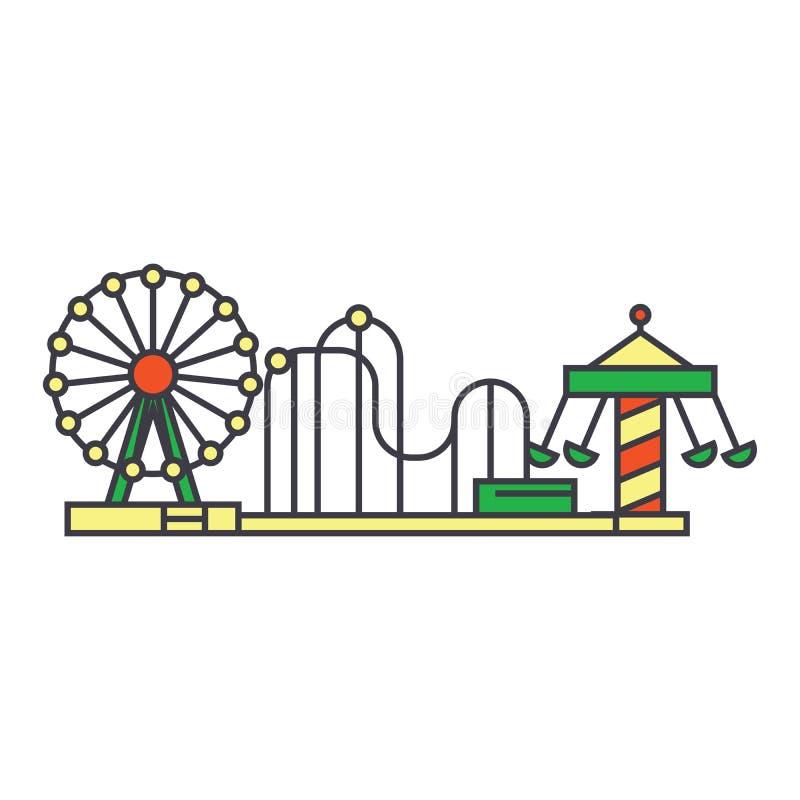 Línea concepto del parque de atracciones del icono Muestra plana del vector del parque de atracciones, símbolo, ejemplo libre illustration