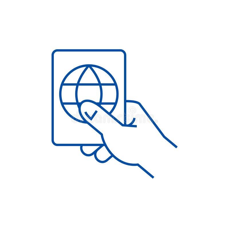 Línea concepto del pasaporte de la tenencia de la mano del icono Símbolo plano del vector del pasaporte de la tenencia de la mano stock de ilustración