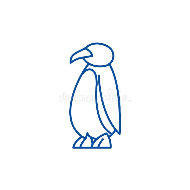 Línea concepto del pingüino de la historieta del icono Símbolo plano del vector del pingüino de la historieta, muestra, ejemplo d ilustración del vector