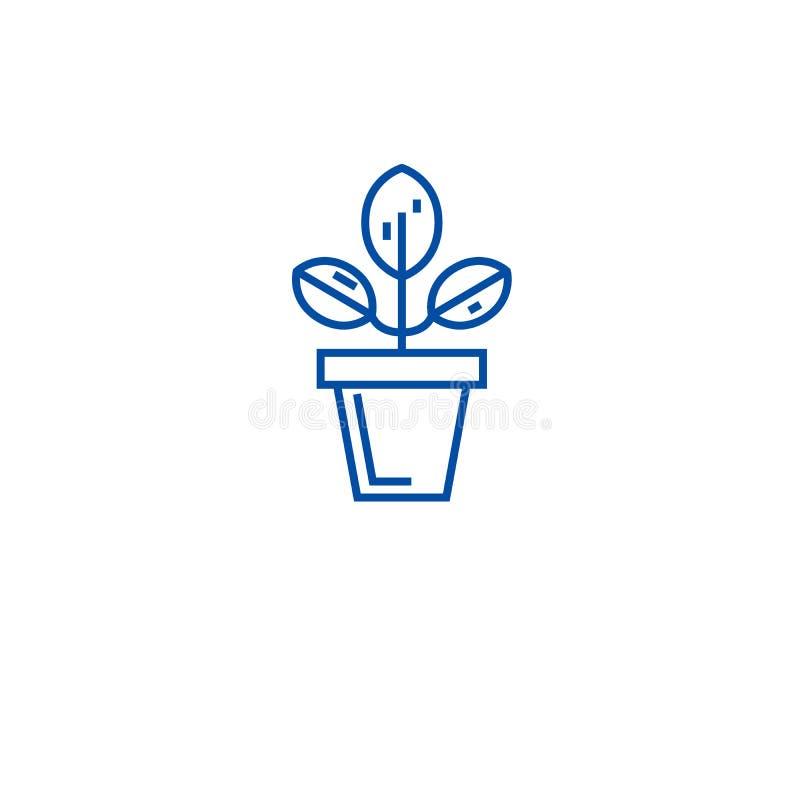 Línea concepto del pote de la planta del icono Símbolo plano del vector del pote de la planta, muestra, ejemplo del esquema ilustración del vector