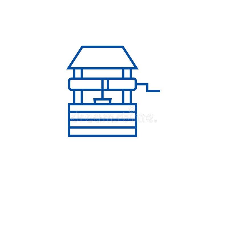 Línea concepto del pozo de agua del icono Símbolo plano del vector del pozo de agua, muestra, ejemplo del esquema stock de ilustración