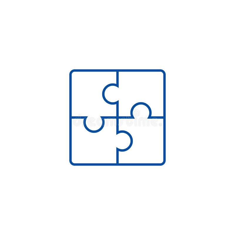 Línea concepto del rompecabezas del icono Símbolo plano del vector del rompecabezas, muestra, ejemplo del esquema stock de ilustración