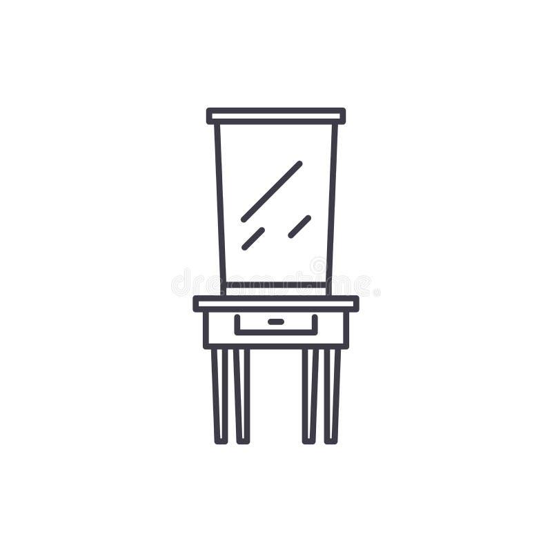 Línea concepto del tocador del icono Ejemplo linear del vector del tocador, símbolo, muestra stock de ilustración