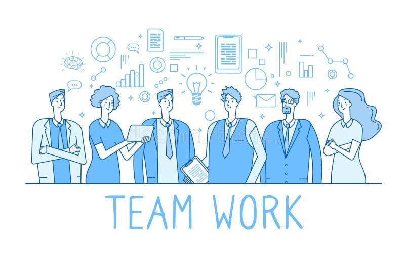 Línea concepto del trabajo en equipo Oficinistas creativos del equipo del negocio, empleados Esquema plano de moda de la tecnolog stock de ilustración
