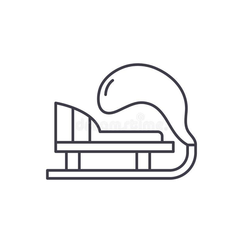 Línea concepto del trineo del invierno del icono Ejemplo linear del vector del trineo del invierno, símbolo, muestra ilustración del vector