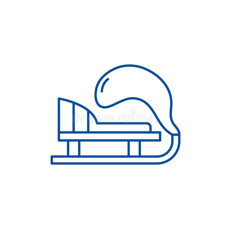 Línea concepto del trineo del invierno del icono Símbolo plano del vector del trineo del invierno, muestra, ejemplo del esquema stock de ilustración