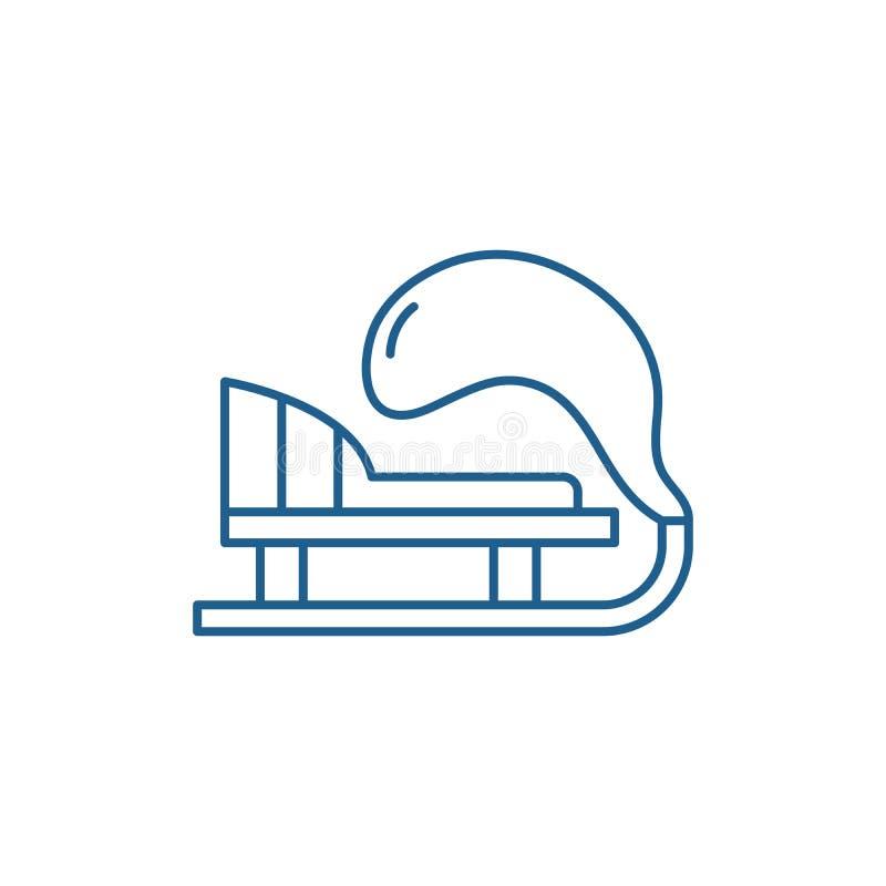 Línea concepto del trineo del invierno del icono Símbolo plano del vector del trineo del invierno, muestra, ejemplo del esquema libre illustration