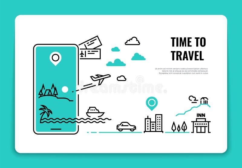Línea concepto del turismo Concepto de la ruta del aeroplano de la página web del hotel de la agencia de viajes de las vacaciones ilustración del vector
