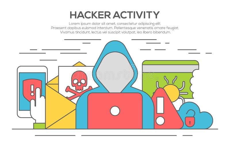 Línea concepto plano de la seguridad de Internet del pirata informático stock de ilustración