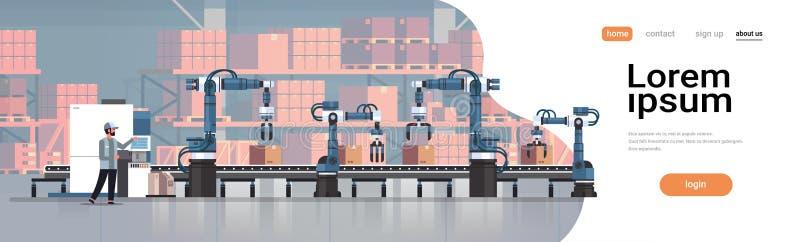 Línea concepto robótico de la banda transportadora del ingeniero del hombre que controla del proceso de fabricación de la producc stock de ilustración