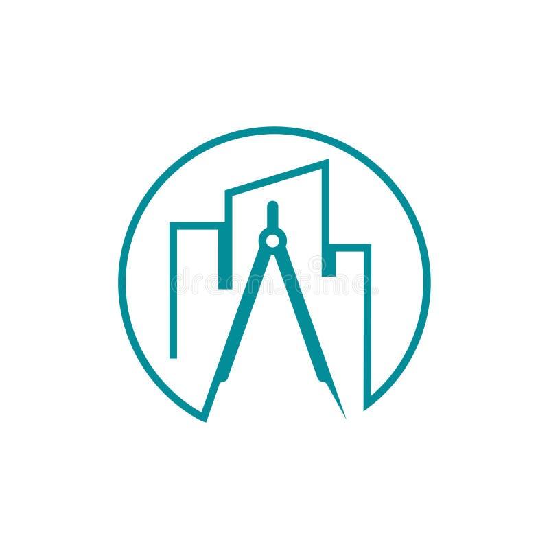 Línea constructiva Art Logo del compás de la arquitectura de la construcción de los bienes raices stock de ilustración