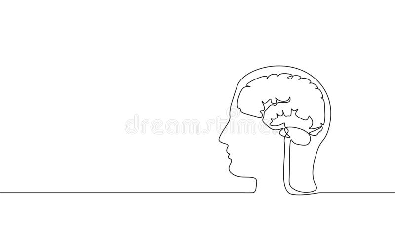 Línea continua arte de la realidad virtual del cerebro sola Ideas creativas activas modernas del sueño de la imaginación de la me stock de ilustración
