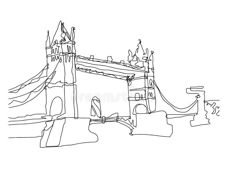 Línea continua bosquejo del dibujo del arte del puente de la torre, Londres stock de ilustración
