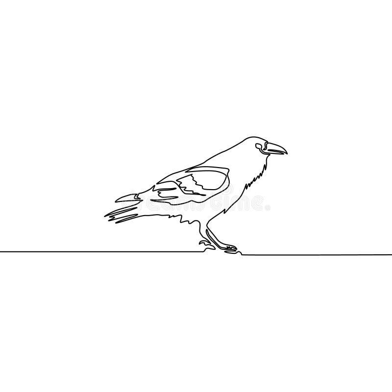 Línea continua cuervo aislado en el fondo blanco Ilustraci?n del vector libre illustration