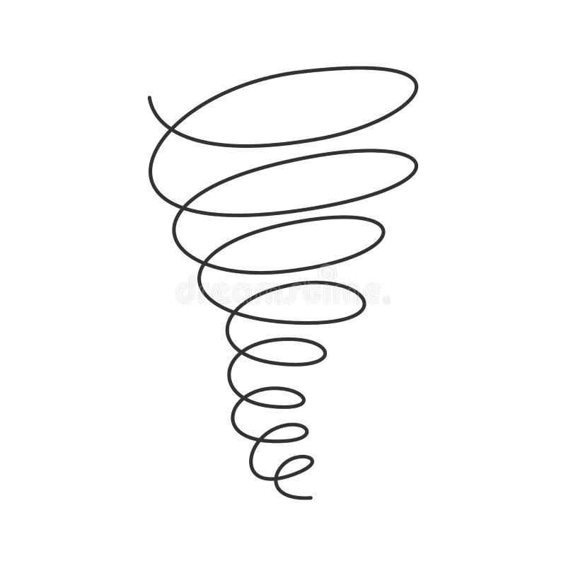 Línea continua del remolino del tornado con el movimiento editable aislado en el fondo blanco ilustración del vector