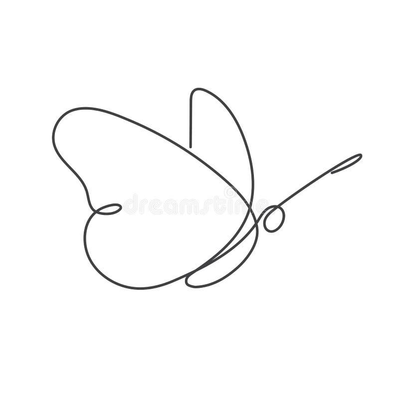 Línea continua dibujo lineal del blanco uno de la mariposa fotografía de archivo libre de regalías
