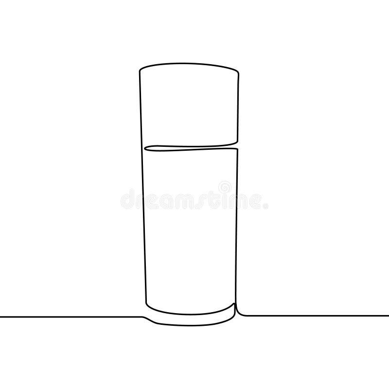 Línea continua ejemplo del vaso de agua del vector aislado en el fondo blanco stock de ilustración