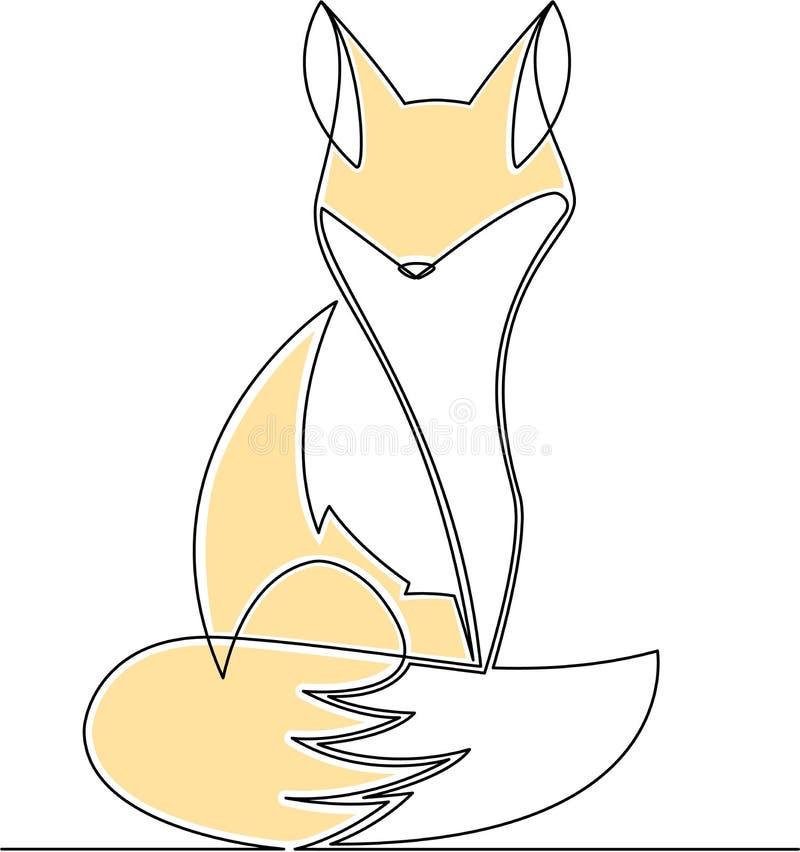 Línea continua ejemplo salvaje de la historieta del vector del Fox ilustración del vector