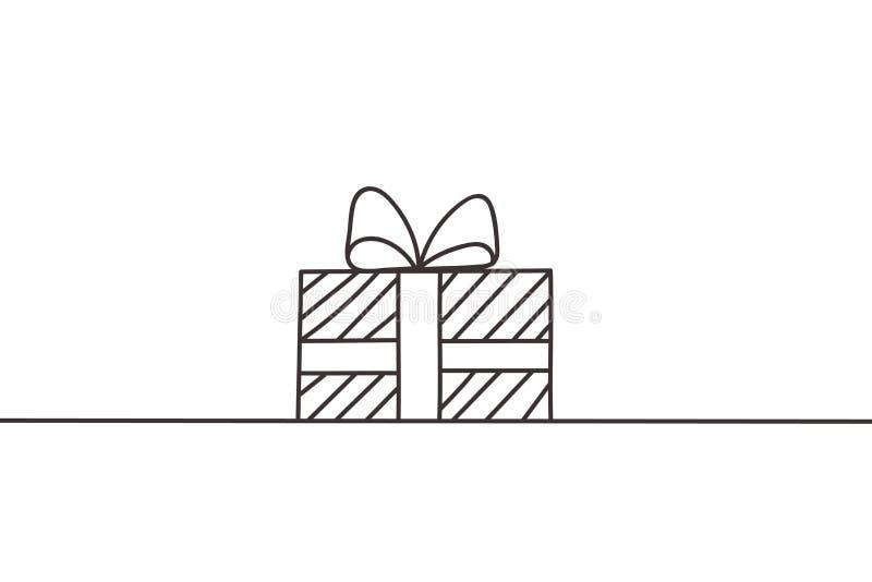 Línea continua hermosa vector del diseño del regalo de Navidad ilustración del vector