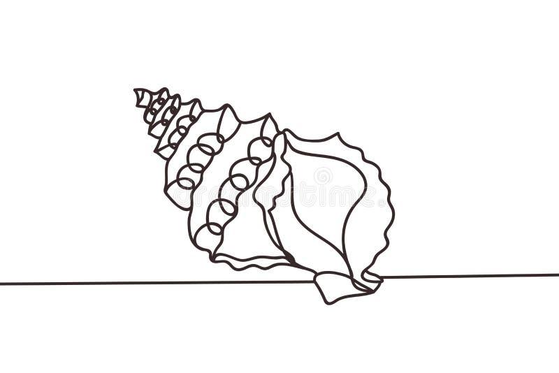 Línea continua mínima hermosa vector del diseño de la cáscara del mar ilustración del vector