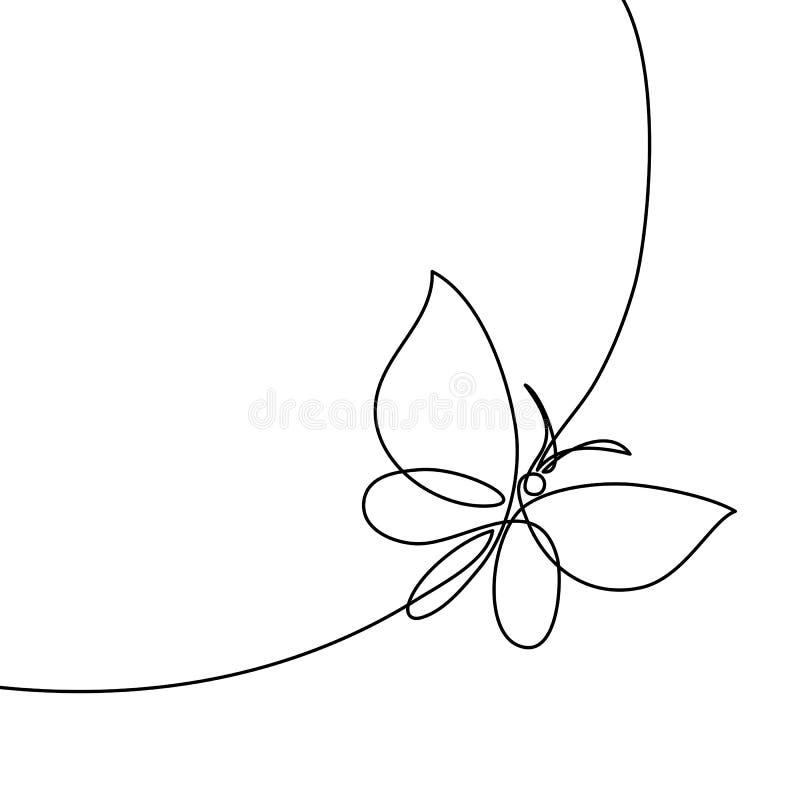 Línea continua mariposa ilustración del vector