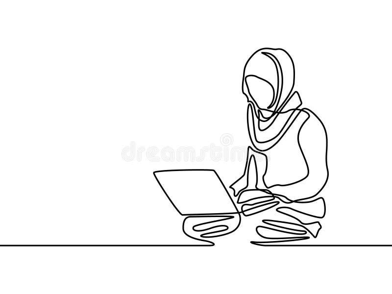 Línea continua mujer de los musulmanes que aprende o con el cuaderno de la ayuda Ilustraci?n del vector ilustración del vector
