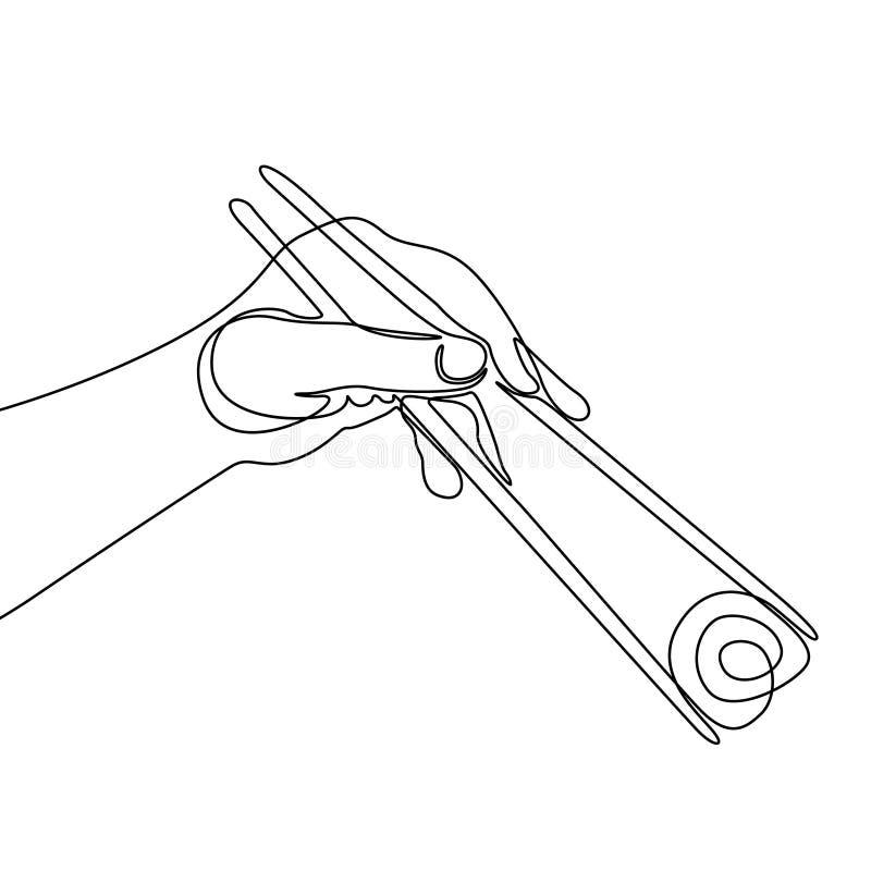 Línea continua palillo de la tenencia de la mano para comer el rollo de sushi ilustración del vector