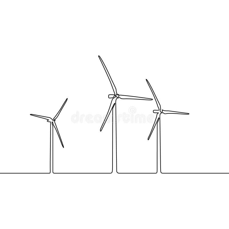 Línea continua parque eólico Turbinas de viento, campo amarillo Central eléctrica de energía eólica horizontal del eje stock de ilustración