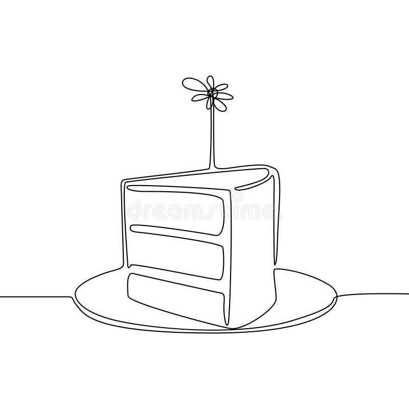 Línea continua pedazo de torta con la vela Concepto del cumpleaños o del día de fiesta Ilustraci?n del vector stock de ilustración