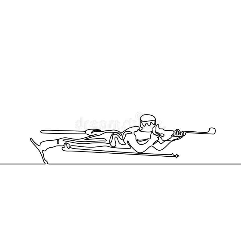 Línea continua que miente abajo objetivos del biathlete Ilustraci?n del vector ilustración del vector