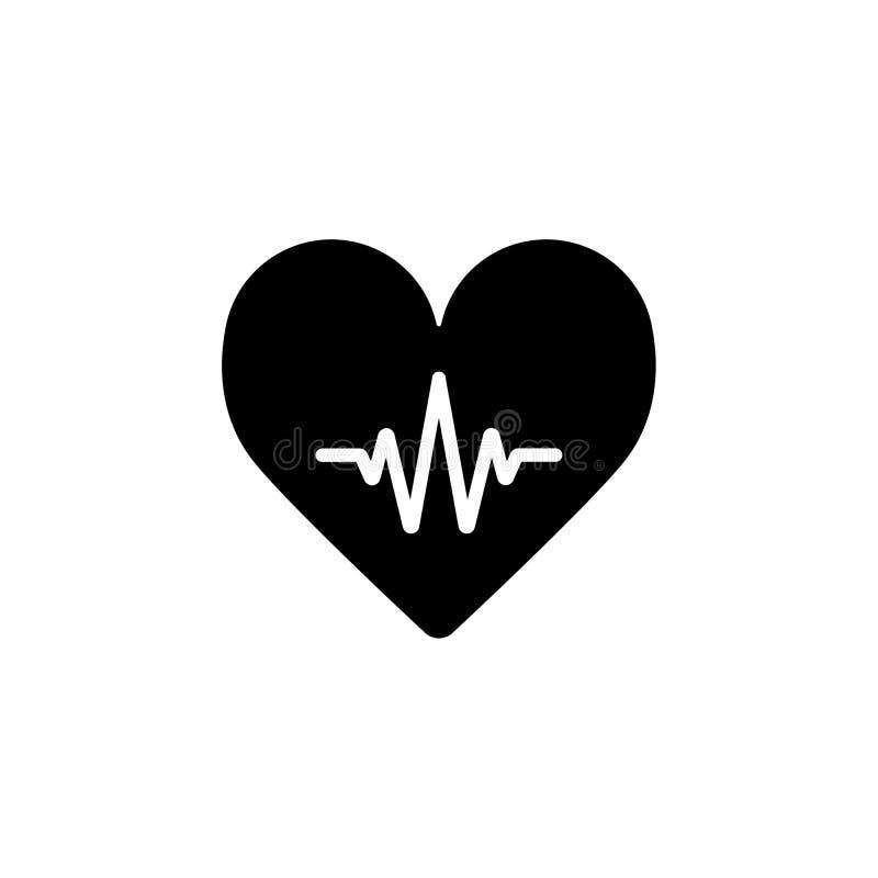 Línea corazón del latido del corazón cardiio Icono del vector del esquema del corazón ilustración del vector