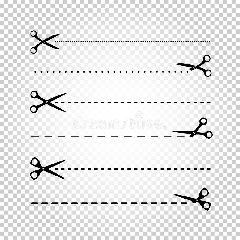 Línea corte de las tijeras libre illustration
