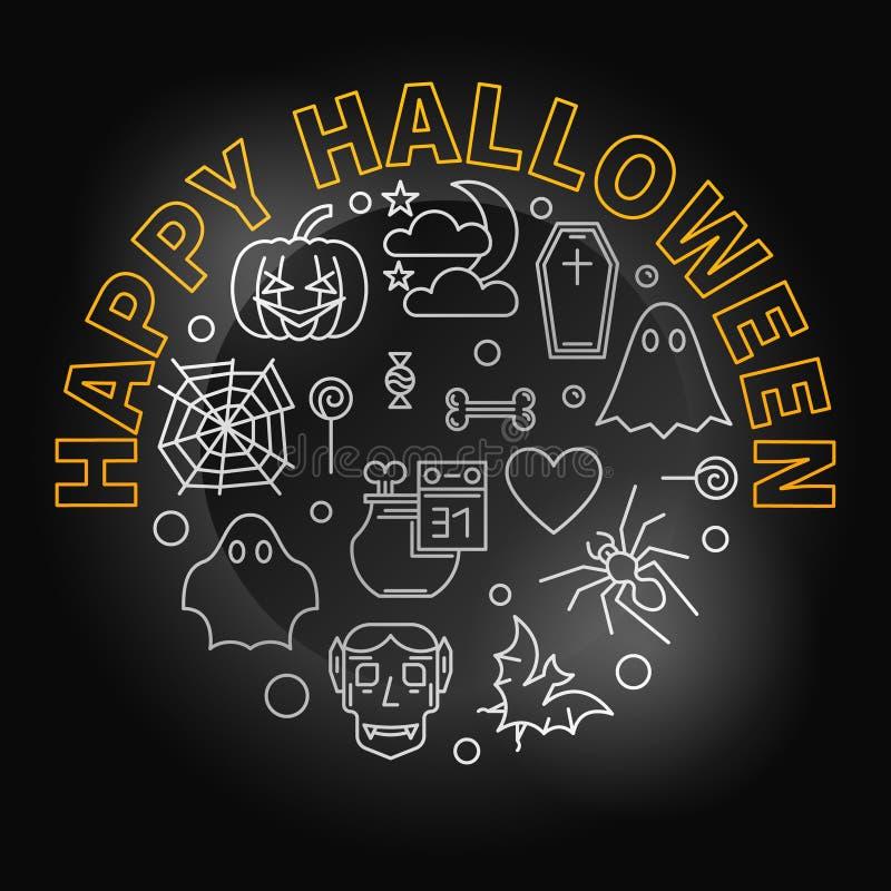 Línea creativa ejemplo del día de fiesta del vector redondo del feliz Halloween libre illustration