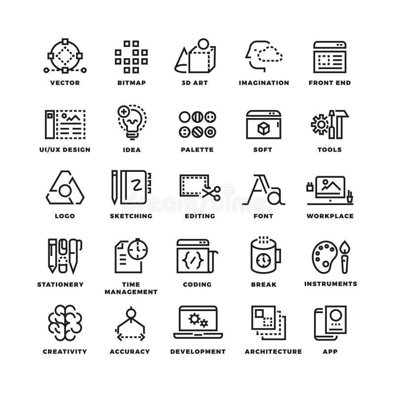 Línea creativa iconos del proceso y de las herramientas fijados libre illustration