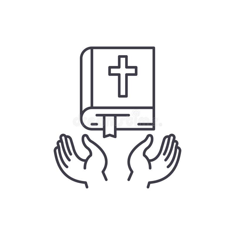 Línea cristiana concepto de la religión del icono Ejemplo linear del vector cristiano de la religión, símbolo, muestra stock de ilustración