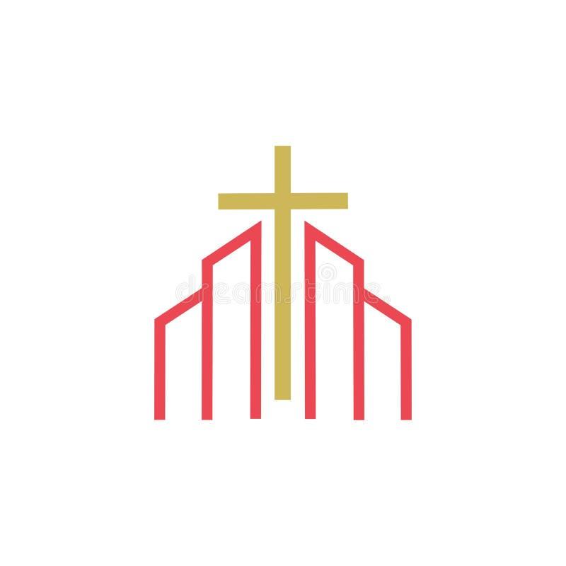 línea cristiana diseño del logotipo del arte, símbolos cristianos de la iglesia stock de ilustración