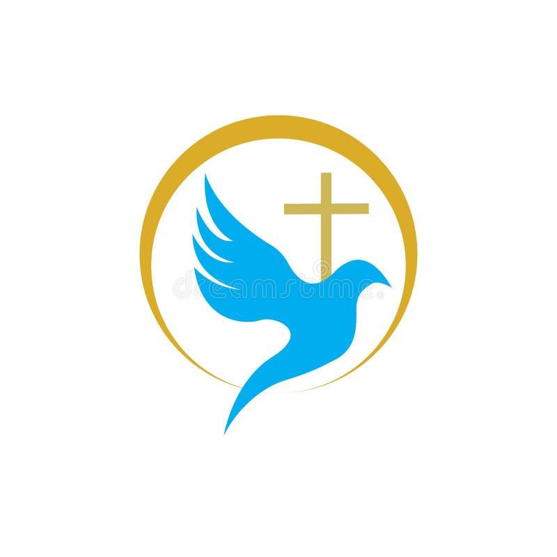 línea cristiana diseño del logotipo del arte, símbolos cristianos de la iglesia ilustración del vector