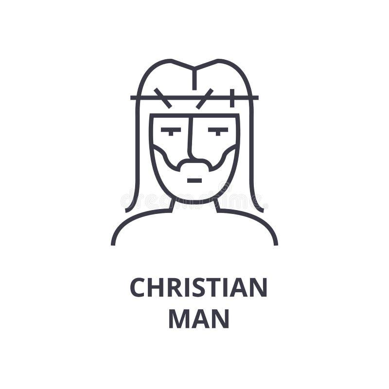 Línea cristiana icono, muestra del esquema, símbolo linear, vector, ejemplo plano del hombre libre illustration