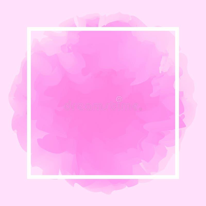 Línea cuadrada blanco en fondo suave rosado abstracto, marco vacío en el espacio rosado púrpura de la plantilla y de la copia del stock de ilustración