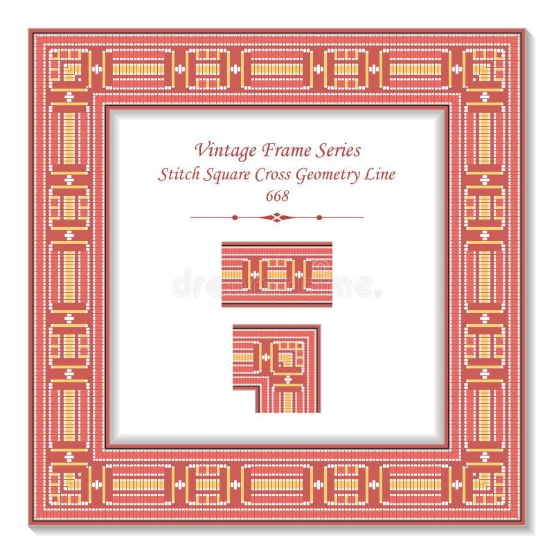 Línea cuadrada de la geometría de la cruz del cuadrado de la puntada del rosa del marco 3D del vintage ilustración del vector