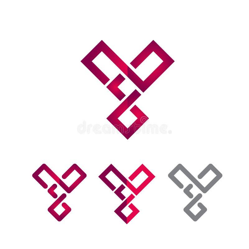 Línea cuadrada logotipo moderno elegante creativo de la letra de Y ilustración del vector