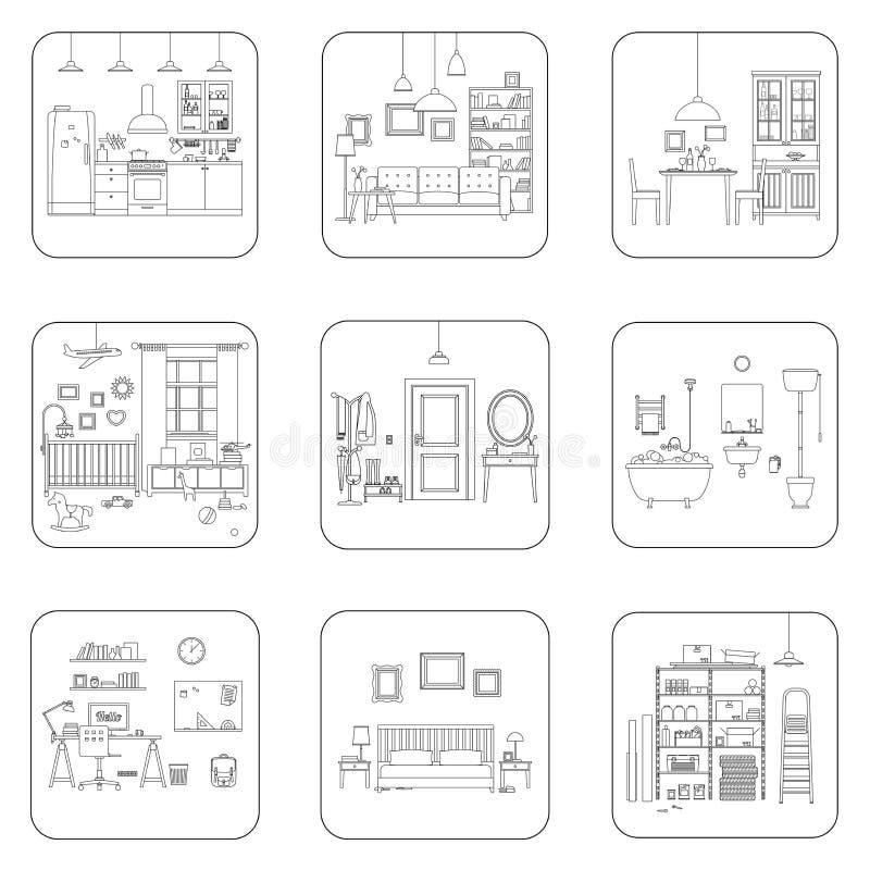 Línea cuartos del interior stock de ilustración