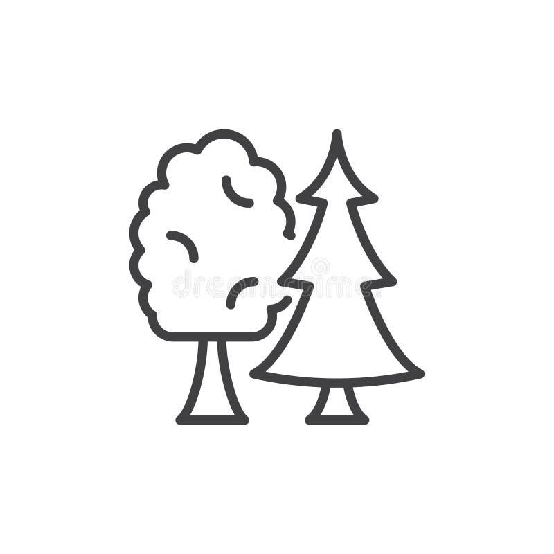 Línea de árboles icono stock de ilustración