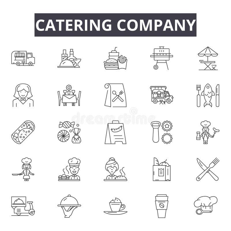 Línea de abastecimiento iconos, muestras, sistema del vector, concepto de la compañía del ejemplo del esquema libre illustration