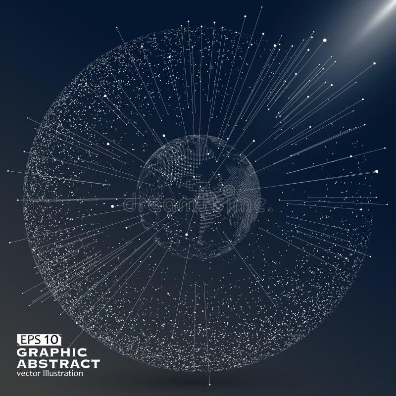 Línea de acontecimiento, conexión de red global, significado internacional , ilustración del vector